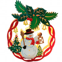 Деревянная световая фигура Новогодний шар со снеговиком 26826 LT068 15W теплый белый Feron