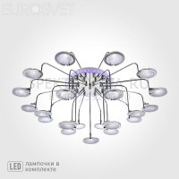 Люстра светодиодная Spider 80109/21 хром/синий+фиолетовый Eurosvet