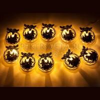 """Гирлянда на батарейках """"Деревянные новогодние шары"""", 10 LED, длина 1,2 м Feron"""
