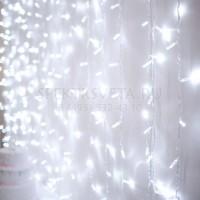 Гирлянда Занавес, 2х3м., 600 LED, Т-коннектор, холодный белый, с мерцанием LED-PL600-2030-230-W(2X3)-T-120F-C G08-1563 Гирлянда.РФ