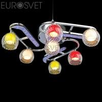 Люстра потолочная 0181/7 хром/синий+красный+фиолетовый Eurosvet