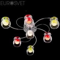 Светодиодная люстра с пультом 0185/7 хром/бело-синий Eurosvet