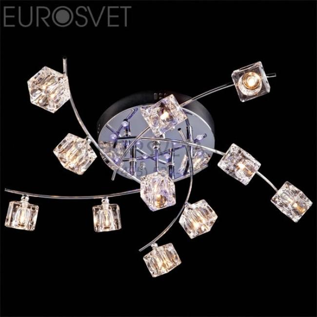 Светодиодная люстра с пультом 4976/11 хром/синий+красный+фиолетовый Eurosvet