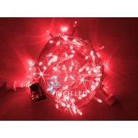 Гирлянда нить (10 м) свет красный мерцающий провод прозрачный RL-S10CF-24V-T/R RichLED