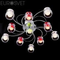 Светодиодная люстра с пультом 0185/11 хром/бело-синий Eurosvet