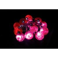 """Гирлянда """"шарики стекло 5,7см"""", цвет стекла: красный, 12 LED белый, 1,7м Feron"""