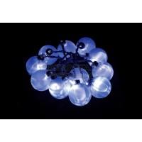 """Гирлянда """"шарики стекло 5,7см"""", цвет стекла: синий, 12 LED белый, 1,8м Feron"""