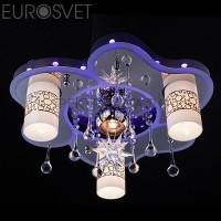 Люстра потолочная 70200/4 хром/синий+красный+фиолетовый Eurosvet