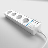 Розеточный блок 4-х местный + 3 USB белый WL20-04-03 Werkel