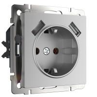 Розетка с заземлением, шторками и USBх2 (серебряный) WL06-SKGS-USBx2-IP20 Werkel