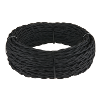 Ретро кабель витой 2х1,5 (черный) 20 м (под заказ) Ретро кабель витой 2х1,5 (черный) 20м Werkel