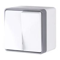 Выключатель двухклавишный влагозащищенный Gallant (белый) WL15-03-02 Werkel