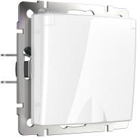 Розетка влагозащ. с зазем. с защит. крышкой и шторками (белая) WL01-SKGSC-01-IP44 Werkel