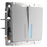 Выключатель двухклавишный с подсветкой (серебряный) WL06-SW-2G-LED Werkel