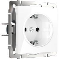 Розетка с заземлением и шторками (белая) WL01-SKGS-01-IP44 Werkel