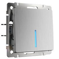 Выключатель одноклавишный с подсветкой (cеребряный рифленый) WL09-SW-1G-LED Werkel