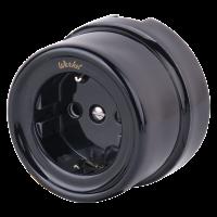 Розетка с заземлением (черный) Ретро WL18-03-01 Werkel
