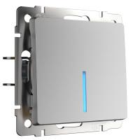 Выключатель одноклавишный с подсветкой (серебряный) WL06-SW-1G-LED Werkel