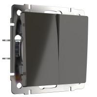Выключатель двухклавишный проходной (серо-коричневый) WL07-SW-2G-2W Werkel