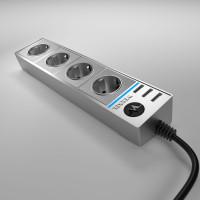 Розеточный блок 4-х местный + 3 USB серебряный/серебряный рифленый WL20-04-03 Werkel