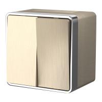 Выключатель двухклавишный влагозащищенный Gallant (шампань рифленый) WL15-03-02 Werkel