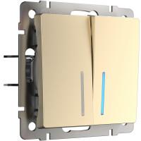 Выключатель двухклавишный проходной с подсветкой (шампань) WL11-SW-2G-2W-LED Werkel