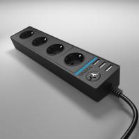 Розеточный блок 4-х местный + 3 USB черный WL20-04-03 Werkel