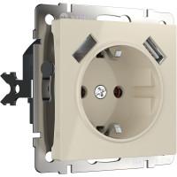 Розетка с заземлением, шторками и USBх2 (слоновая кость) WL03-SKGS-USBx2-IP20 Werkel