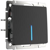 Выключатель одноклавишный с подсветкой (черный матовый) WL08-SW-1G-LED Werkel