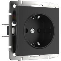Розетка с заземлением (черный матовый) WL08-SKG-01-IP20 Werkel